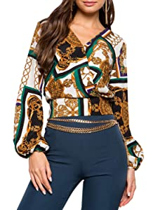 8bf4974ddb24d Glamaker Women s Elegant V Neck Long Sleeve Chain Print Workwear BlouseTop  Shirts