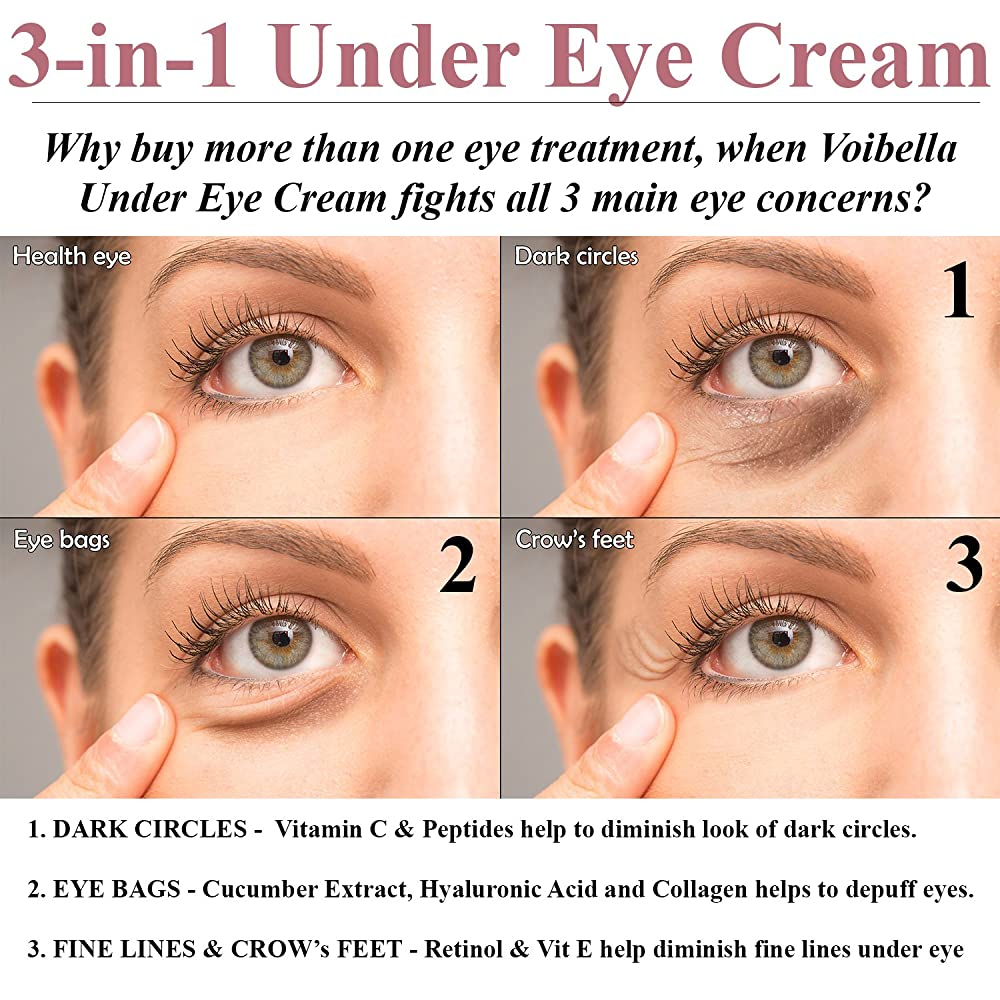 Natural Anti-Aging Under Eye Cream Best 3-in-1 Treatment ...