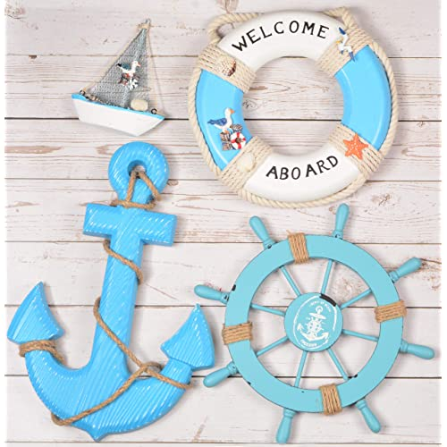 Buy Wooden Nautical Lighthouse Anchor Wall Hanging Ornament Beach Wooden Boat Ship Steering Wheel Wall Decor Nautical Life Ring Wall And Door Hanging Ornament Plaque Welcome Abroad Life Ring Blue Online In