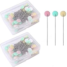 Sumfox 307 Sewing Pins 38mm Multicolor Glass Ball Head Pins Straight Quilting Pins with Pin Cushion Sewing Seam Ripper and Thread Remover Kit for Dressmaking Jewelry Components Flower Decoration