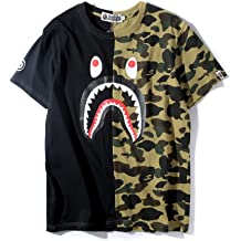 9ea28990b Big Mouth Shark Ape Bape Camo Casual T Shirt Tees Unisex with Round Neck  Short Sleeve