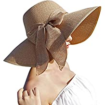 ed84330cb5a1e Womens Big Bowknot Straw Hat Floppy Foldable Roll up Beach Cap Sun Hat UPF  50+